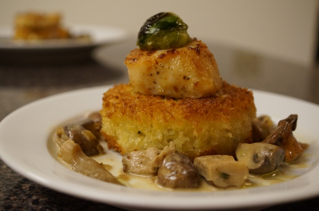 Faux Risotto Rice Cake with Seared Scallop